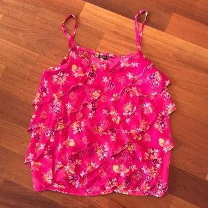 Torrid size 4 pink ruffle floral chiffon tank